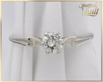 Vintage ~ Diamond Engagement Solitaire ~ 0.39ct Genuine Brilliant Cut Diamond I/I1 Solitaire ~ 18k White Gold Set ~ STR21099