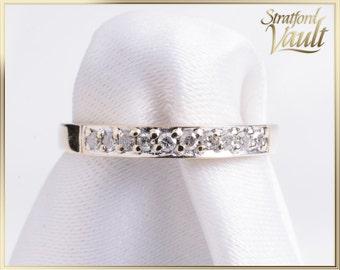 Vintage Ladies Diamond Wedding Band ~ 10k Yellow Gold ~ 0.25ctw (10 x 0.025) Claw Set Single Cut Diamonds  H/I1 ~ STR21092