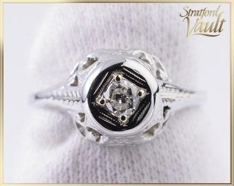 Art Deco ~ Diamond Engagement Ring ~ 14K White Gold Bead Setting ~ 0.18ct Brilliant Cut Solitaire Diamond J/VS2 ~ STR21068