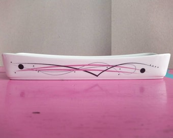 Pink Swirl long Snack Bowl