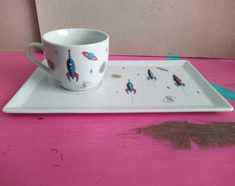 Breakfast set Cup and large Saucer Rocket