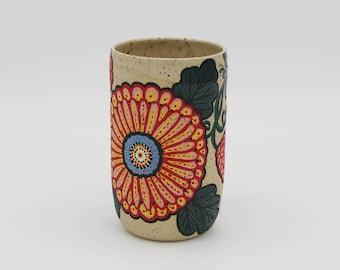 Mug, Hand Painted Flowers and Vines Collaboration Mug, Handmade, Stoneware, ceramic, coffee and tea cup