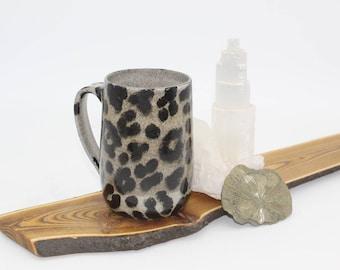 Mug, Leopard Print Mug, Handmade, Stoneware, ceramic, coffee and tea cup