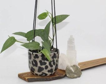 Hanging Planter Pot, Leopard Print hanging planter pot,  Handcrafted stoneware, ceramic plant holder