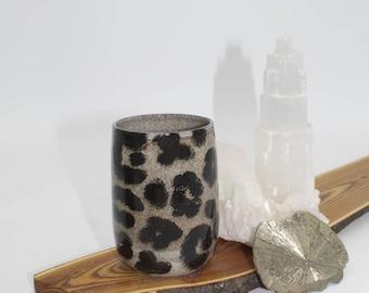 Tumbler, Leopard Print Tumbler, Handmade, Stoneware, ceramic, coffee and tea cup