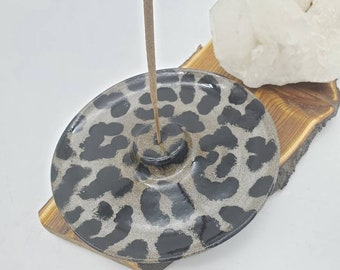 Incense holder, Grey Leopard Print incense burner, Hand Painted incense holder