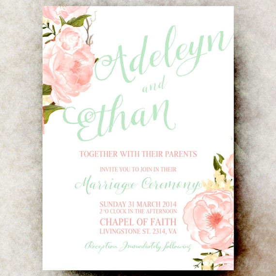 Coral And Mint Wedding Invitations: Items Similar To Mint Green Coral Wedding Invitation
