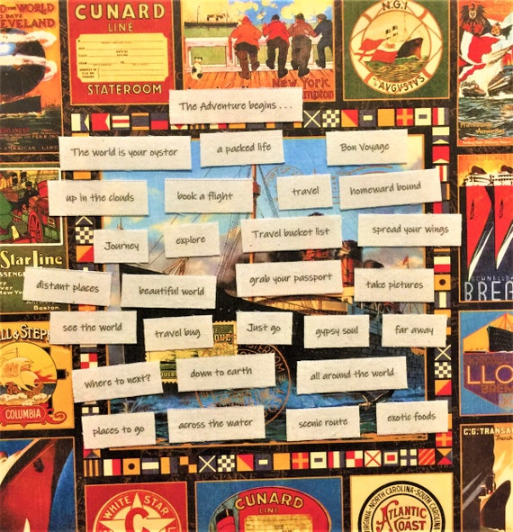 Mixed Media And So the Adventure Begins ** Assorted pack Words printed for you on Fabric or cardstock Inspiration for  Junk journal