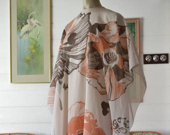 Mid century Retro Maxi dress caftan / Kaftan  long apricot flowers