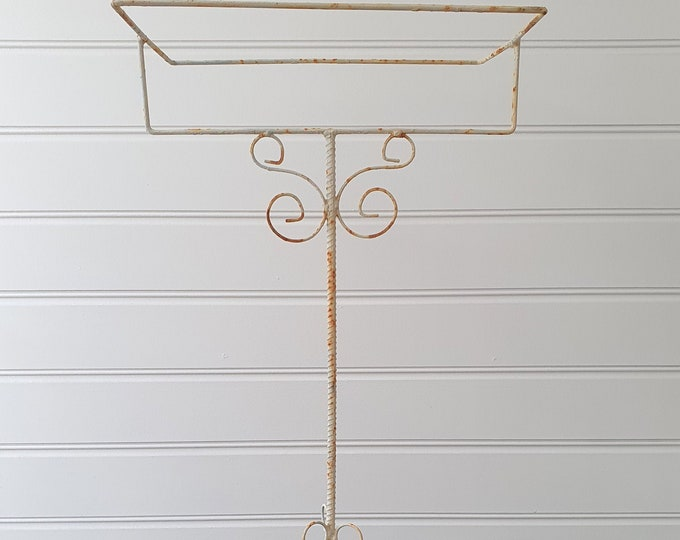 Vintage 1950s white metal bird cage stand white wrought iron NOT free postage! contact for postage costs!