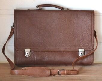 Vintage Leather brief case bag briefcase satchel messanger bag 06ea6e056f