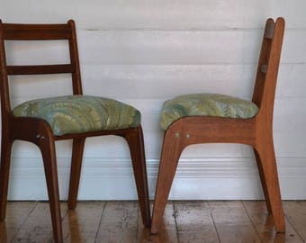 Vintage Mid century wooden chair tropical fern fabric price 1 chair only