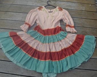 eb532a4ed0f Mid century dress sleeves vintage full skirt boho. AU 75.00