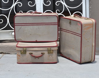 Vintage suitcases luggage bags 1950s mid century Noton England