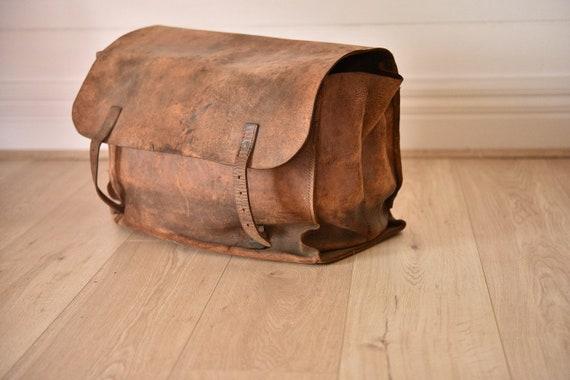 Antique Postmans bag leather satchel saddle bag La