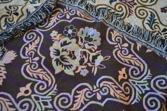 French Country Shabby Chic Throw Quilt Rug Blanket Purple Mauve Pink