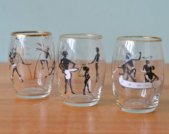 Vintage drinking glasses Aboriginal Mitchell tumblers