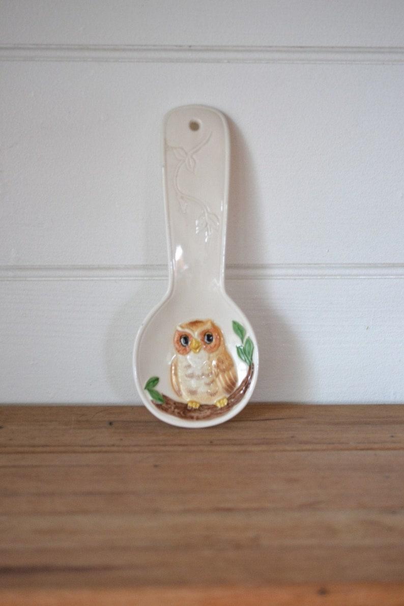 Vintage Owl spoon rest Japan Otagiri Maryann baker ceramic