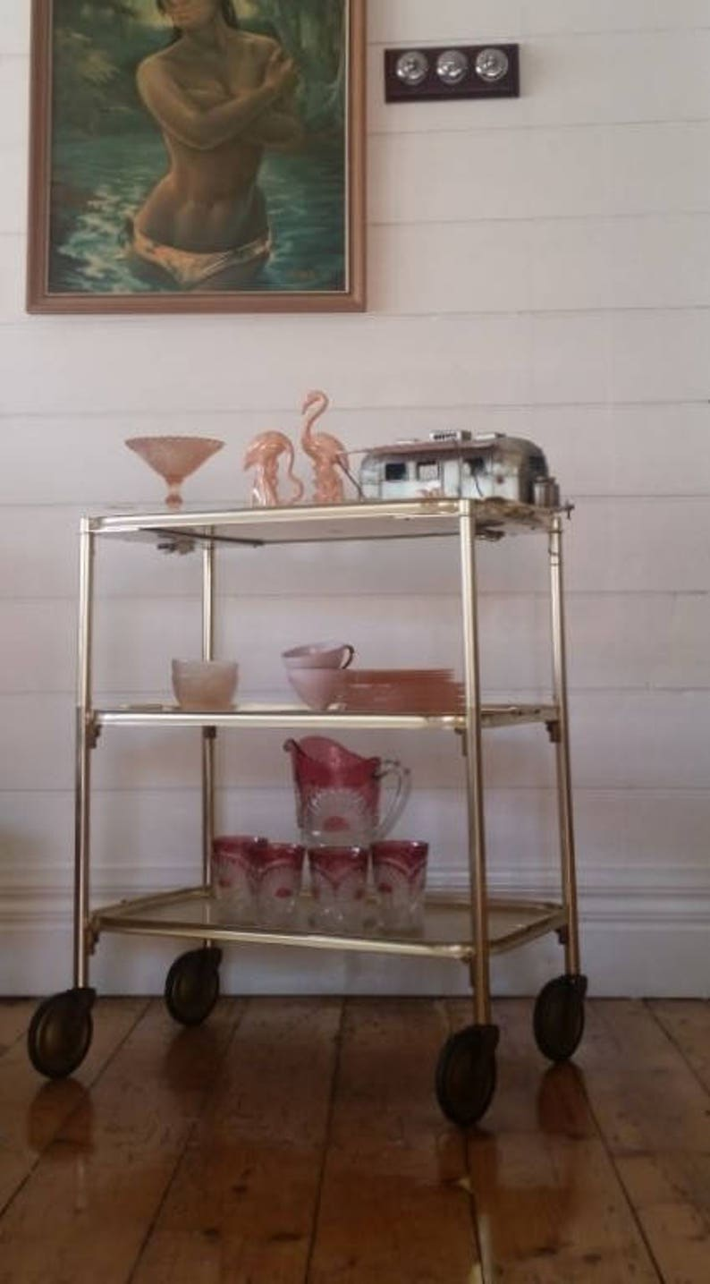 Vintage gold trolley Hollywood Regency Carefree England tea image 0