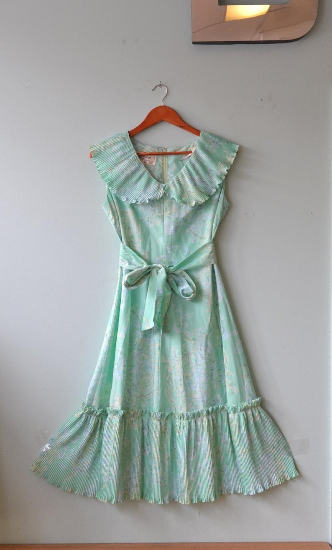 3de723e3c17 Mid century 1950 s 1960 s dress aqua summer dress Size