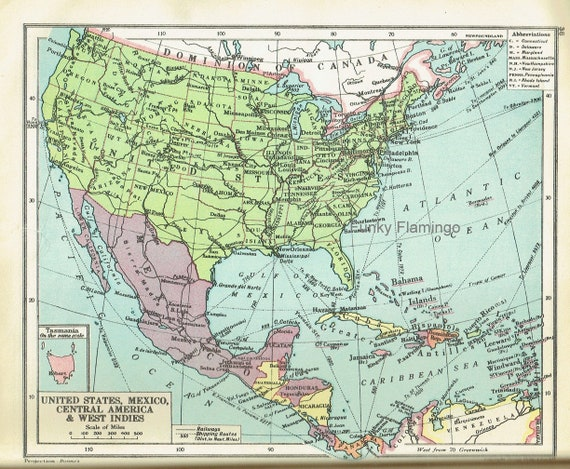 Vintage map of United States, Mexico, Central America & West Indies ,  Australia 1954 old maps graphics image scan only