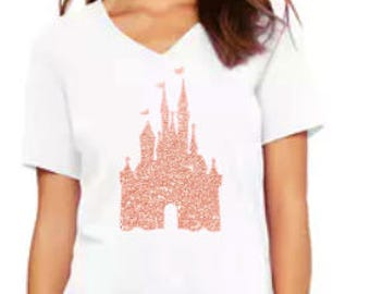 Glitter Rose Gold Disney Castle Shirt // Minnie Ears Shirt // Mickey Ears // Adult Shirts // Minnie Mouse Shirts // Mickey Mouse