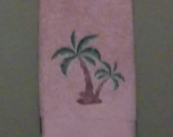 Machine Embroidered Palm Trees Hand Towel