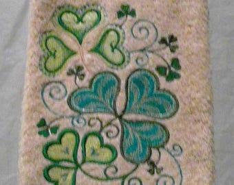 Machine Embroidered Shamrock Hand  Kitchen/BathroomTowel