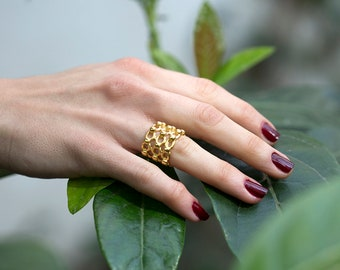 Dotted Band Ring Adjustable 24K Matte Gold plated unisex top quality Turkish Boho jewellery yzk112A