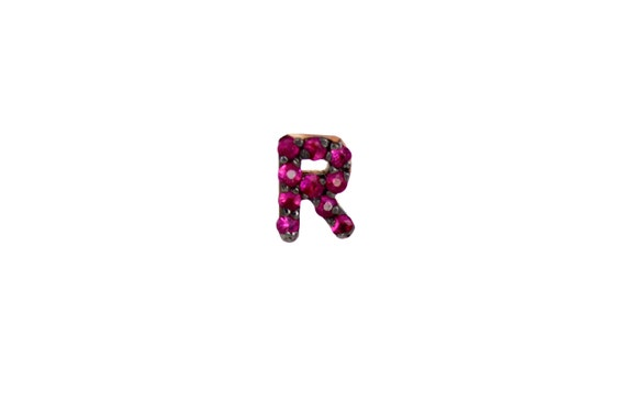 or Rose Gold Yellow Earring in White One Single Personalized Custom Jewelry 14k Solid Gold /& Diamond Initial J Monogram Earring Stud