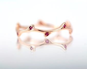 Ruby Ring Rose Gold Ring / Rose Gold Tree Ring Ruby/ 14k Solid Gold Ring Ruby/ Genuine Natural Ruby Branch Ring for Women / July Birthstone