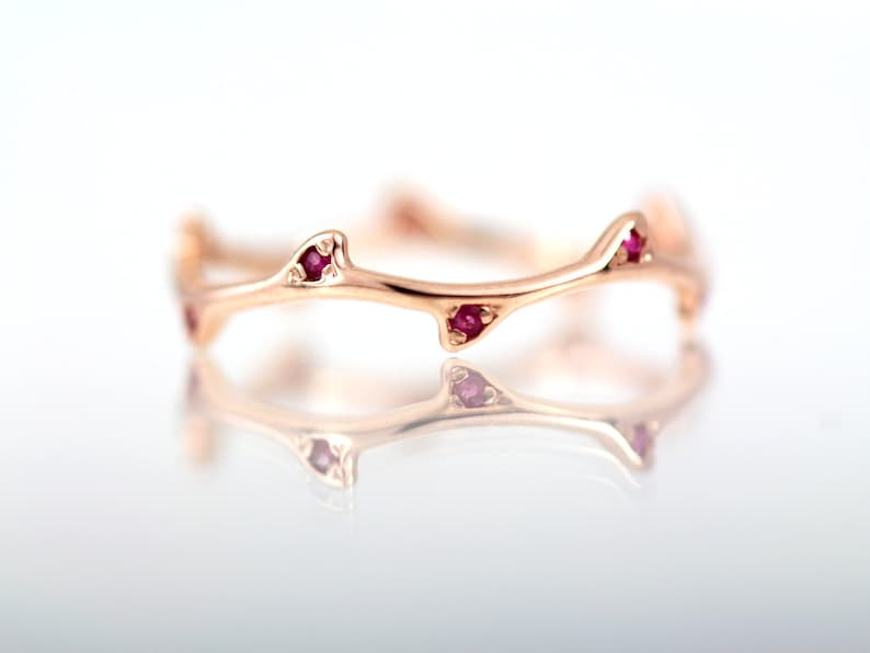 Ruby Ring Rose Gold Ring / Rose Gold Tree Ring Ruby/ 14k Solid Rose Gold