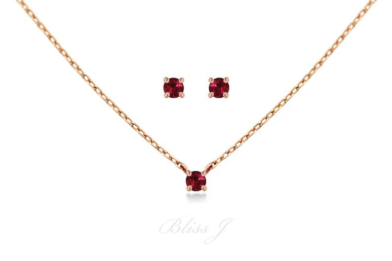22e2f0da5f00f Ruby Set / Jewelry Set / Bridesmaid Jewelry Set / Birthstone Set / Ruby  Necklace Earring Set / 14K Solid Gold / Natural Ruby Set /Bridal Set