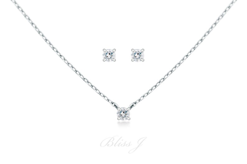f65e564478181 Diamond Set / Jewelry Set / Bridesmaid Jewelry Set / Birthstone Set /  Diamond Necklace Earring Set / 14K Solid Gold / Natural Diamond Set
