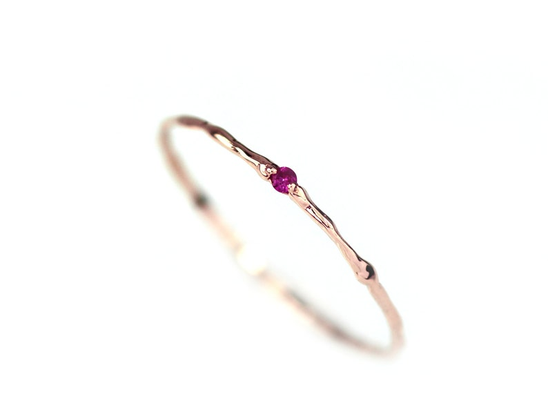 Ruby Ring / 14K Solid Gold / Natural Ruby Branch Ring / 14K image 1