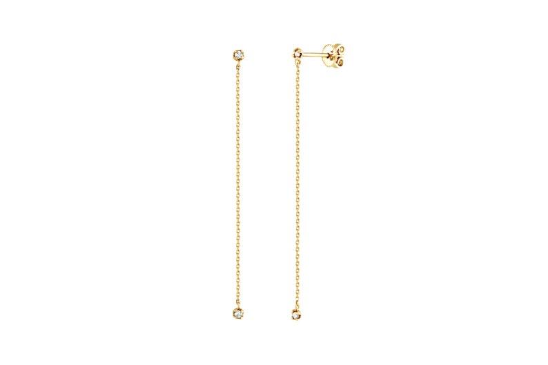 Diamond Threader Earrings Natural Diamond Earrings Diamond Ball Drop Earrings Drop Earrings 14k Solid Gold Earrings Long Chain Earrings