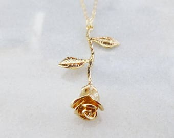 Gold Rose Necklace Valentines Day Jewelry Flower Pendant Floral Charm Garden Wedding Accessories Anniversary Wife Womens Gift Idea For Her