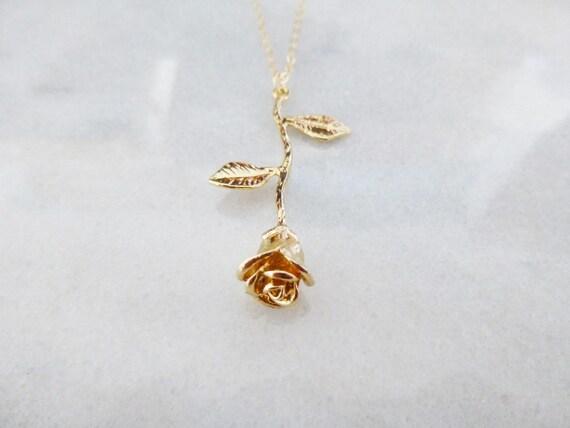 Valentines Day Gift Voor Haar Gouden Ketting Rose Schoonheid Etsy