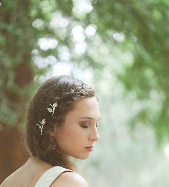 Argent, barrettes, épingles à cheveux de mariage de mariage de mariage épingle feuille branche épingles à cheveux feuille Pin bois mariage mariée accessoires pour cheveux
