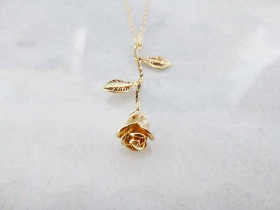 Beaute Et La Bete Collier Bijoux En Or Rose Fleur Charme Belle Etsy