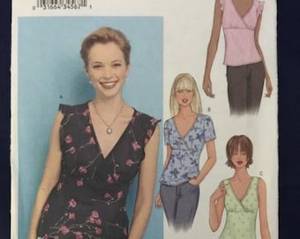 McCall's 3385 womens v neck blouse sewing pattern uncut