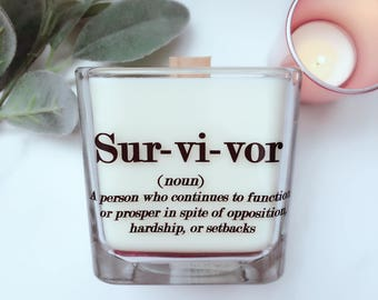 The ORIGINAL Survivor Candle -End of Chemo Gift~Cancer Survivor Gifts~Breast Cancer Gift ~ Get Well Gifts~Cancer Free Celebration Gift