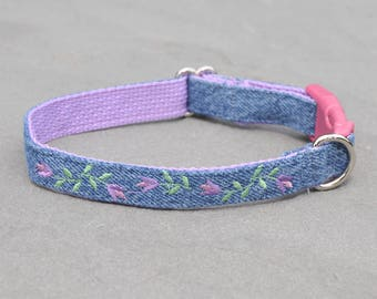 Jeans Re-purposed into Denim Dog Collar Purple Flower Embroidered Custom Made for Puppy, Small or Large Dog as Buckle or Martingale Collar