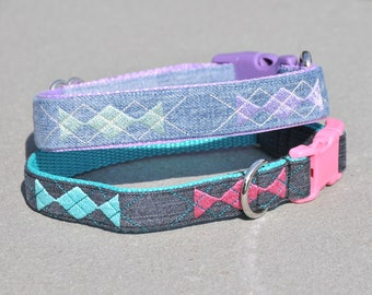 Argyle Embroidered Dog Collar created from Recycled Denim Jeans Custom Dog Collar Buckle or Martingale Collar for Small to Extra Large Dog