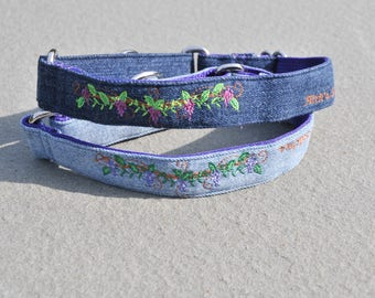 Pitch's Stitches Grapevine Embroidered on Repurposed Demin, Custom Dog Collar available as Buckle Collar or Martingale Collar
