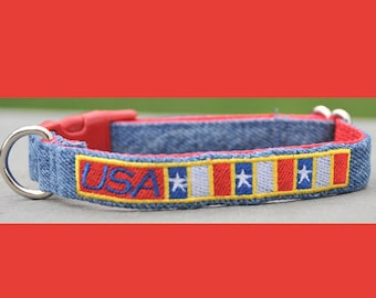 USA Stars and Stripes Embroidered on Re-purposed Denim Dog Collar Custom Made in the USA in Variety of Sizes, Eco-Friendly