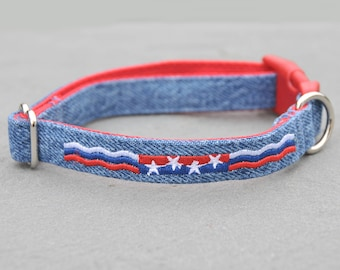 Stars and Stripes Embroidered on Re-purposed Denim Dog Collar Custom Made in the USA in Variety of Sizes, Eco-Friendly