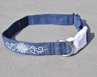 Embroidered Dog Collar created from Recycled Denim Jeans Custom Dog Collar Buckle or Martingale Collar