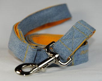 Denim Leash Custom Made in USA from Recycled Jeans for your Puppy, Small or Large Dog to Match your Pitch's Stitches Denim Dog Collar