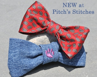Unique One of a Kind Bow Ties Handmade from Re-Purposed Necktie or Denim Fabric to add to your Dog Collar